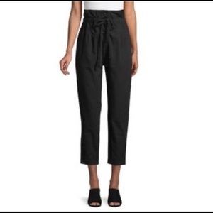 Lucca black cotton paper bag waist pants